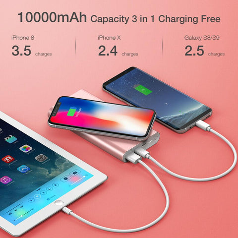 Poweradd 20000mAh Power Bank Dual USB Portable External Battery Phone Charger Fast Wireless Charging Station Phone Charger