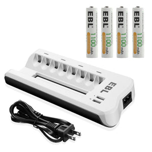 EBL 1.2v AAA Battery 1100mAh Rechargeable Battery + 8 Bay Charger With Dual USB Charging Ports For AA AAA Ni-MH Ni-CD Batteries