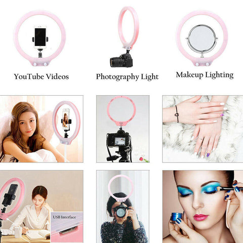 LED Selfie Ring Light with Tripod Stand&Cell Phone Holder for Live Stream/Makeup