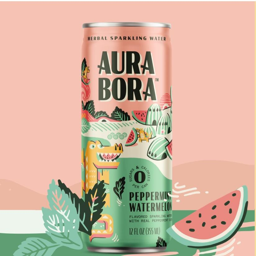 Watermelon Peppermint Herbal Sparkling Water (12 oz)