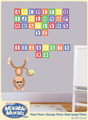 ABC's and 123's  'Wooden Blocks' Kids Wall Art Mural Activity Kit