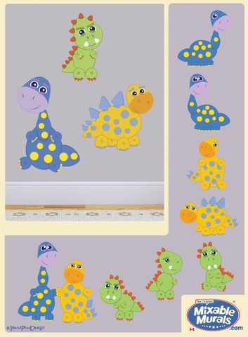 3 Dinosaurs | Non Toxic Kids Wall Art Mural Activity Kits