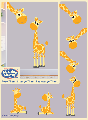 2 Giraffes 'Large and Small' | Kids Wall Mural Art Activity Kits