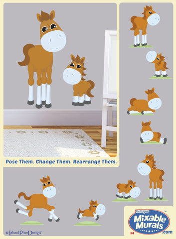 Horses 'Large and Small' | Kids Wall Art Mural Activity Kits
