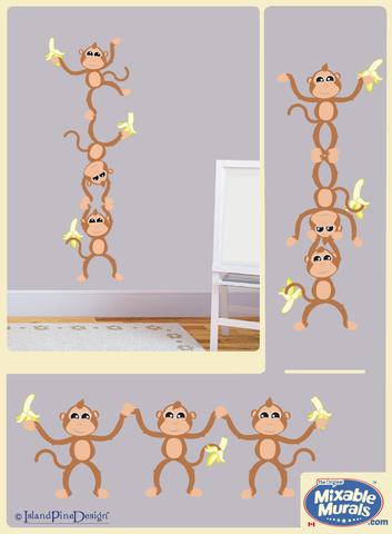 3 Monkeys 'Small' | Wall Art Mural Activity Kit for Kids