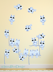 Owl 'Small' Moonlight Blue | Wall Art Mural Activity Kits for Kids