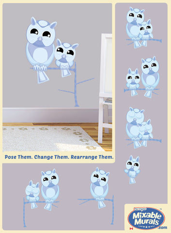 Owls 'Large and Small' Moonlight Blue | Wall Art Mural Activity Kits for Kids