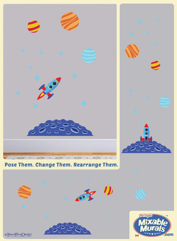 Rocket Ship In Space | Wall Art Activity Kit for Kids