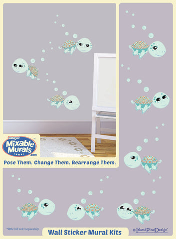 3 Green Sea Turtles | Wall Art Mural Activity Kit for Kids