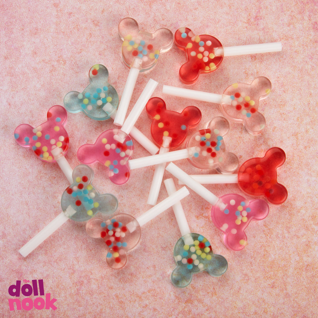 mickey ear resin lollipops, nonpareil sprinkles inside, 18 inch doll food