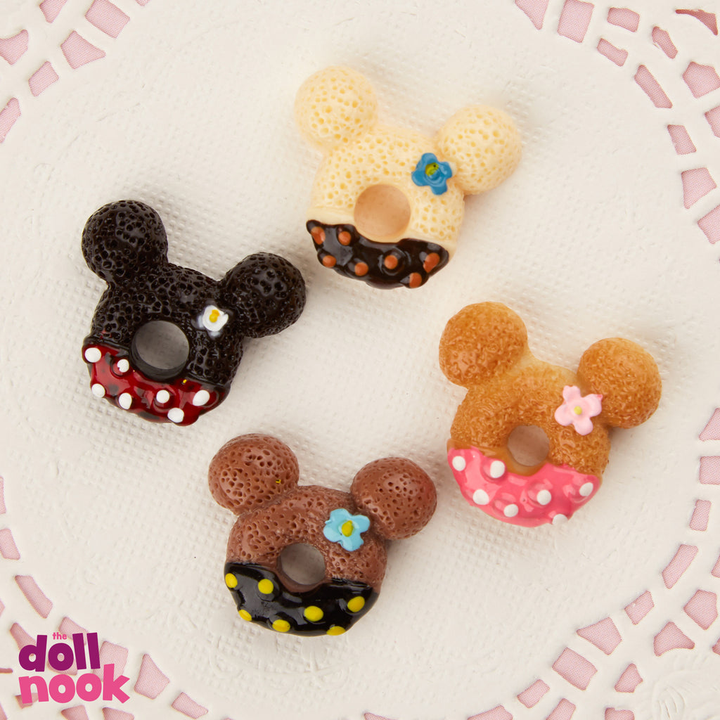 Resin donuts in mickey ears shape, assorted colors, icing, 18 inch doll food