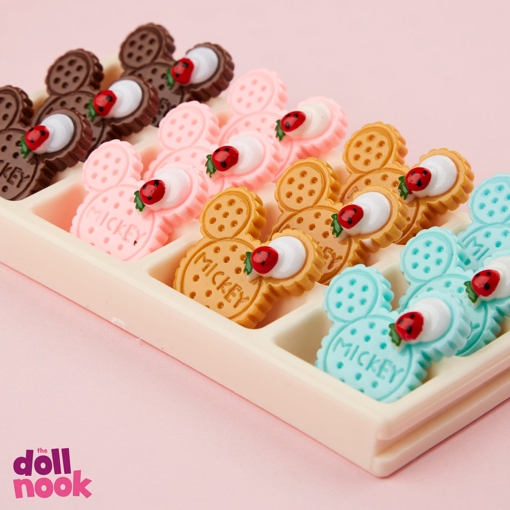Resin Mickey shaped biscuits, whip cream and ladybug design, assorted colors, 18 inch doll food