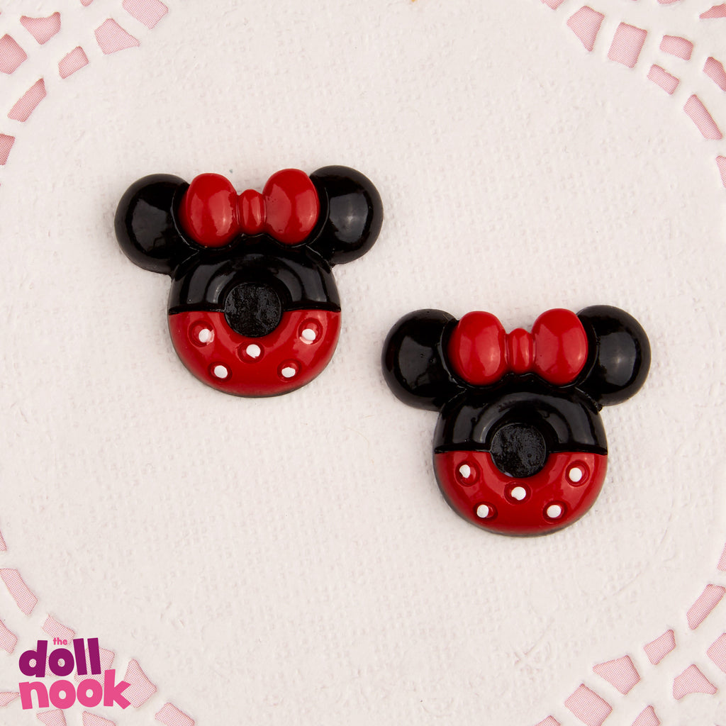 "2 resin Minnie Mouse cookies, 18"" doll food"