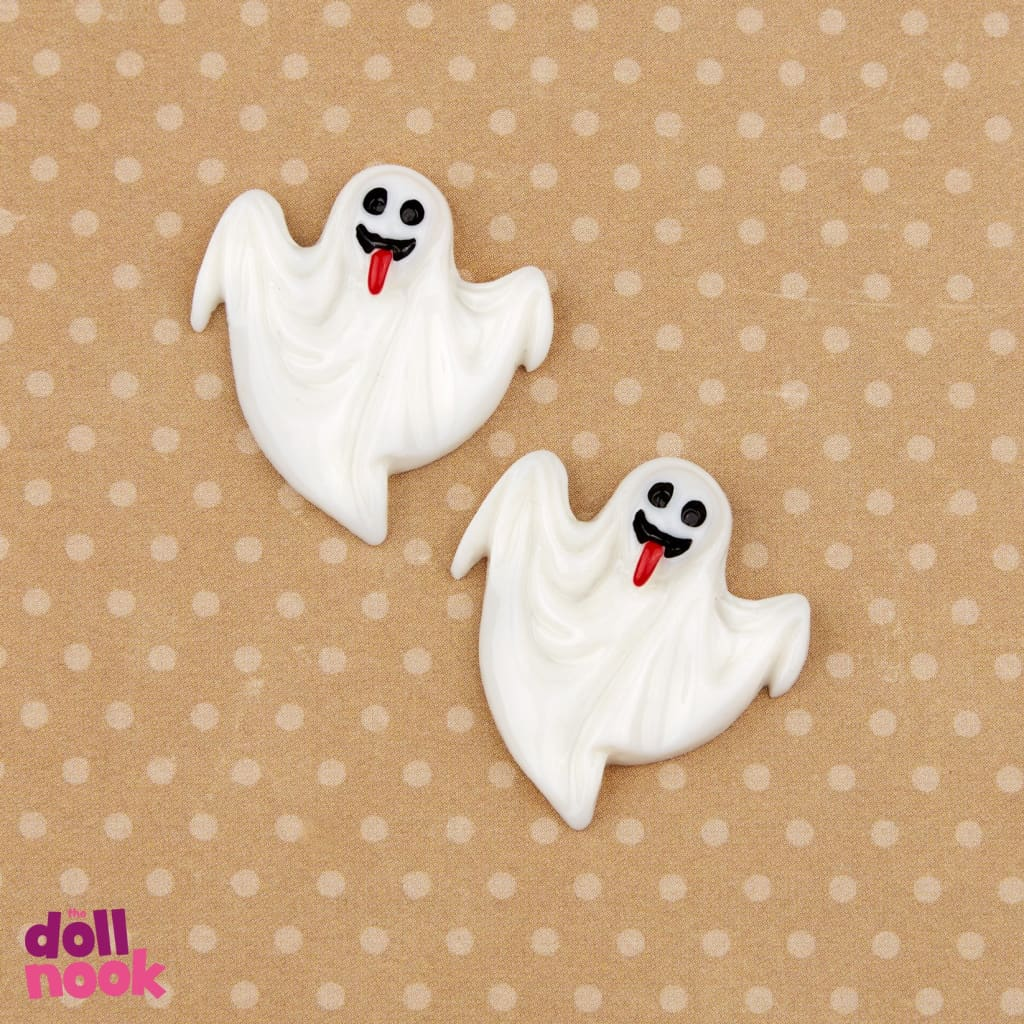 "2 resin white ghosts, 18"" doll food"