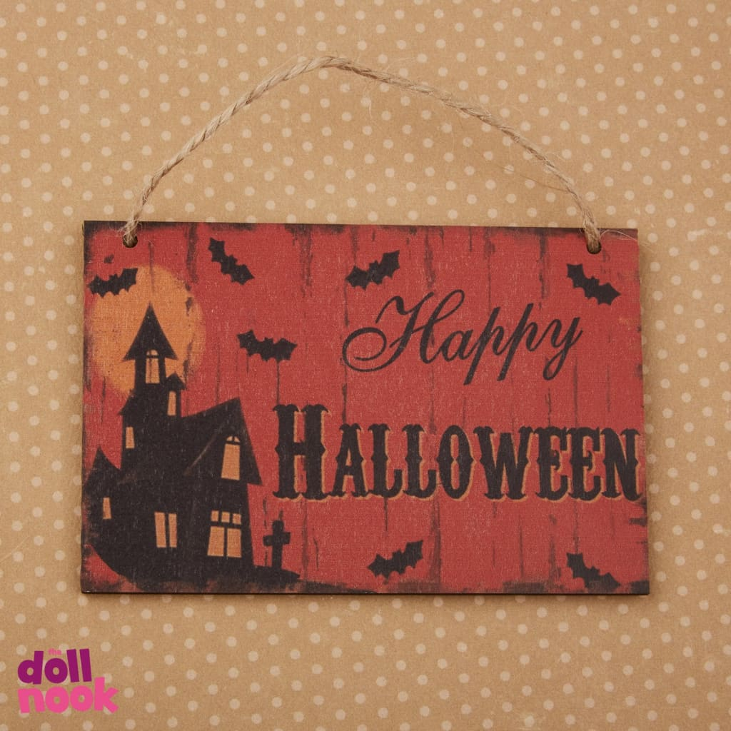 "Wooden Happy Halloween sign, suitable for 18"" doll house"