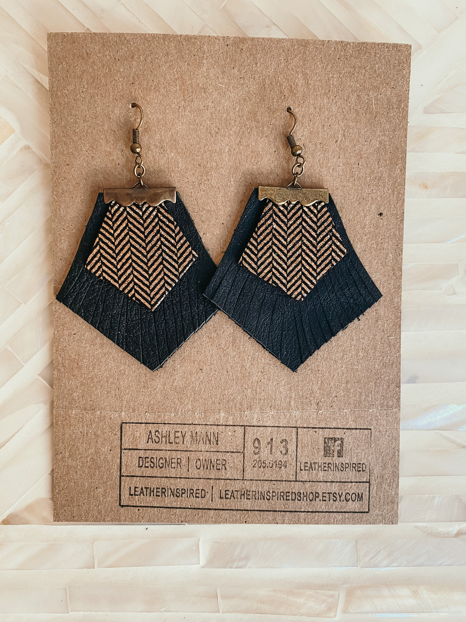 Leather Inspired Double Layer Earrings