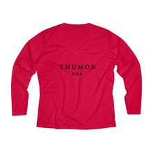 Load image into Gallery viewer, Thumos USA Black Lettering, Women's Long Sleeve Performance Polyester V-neck Tee, Multiple Colors Available, Regular Fit
