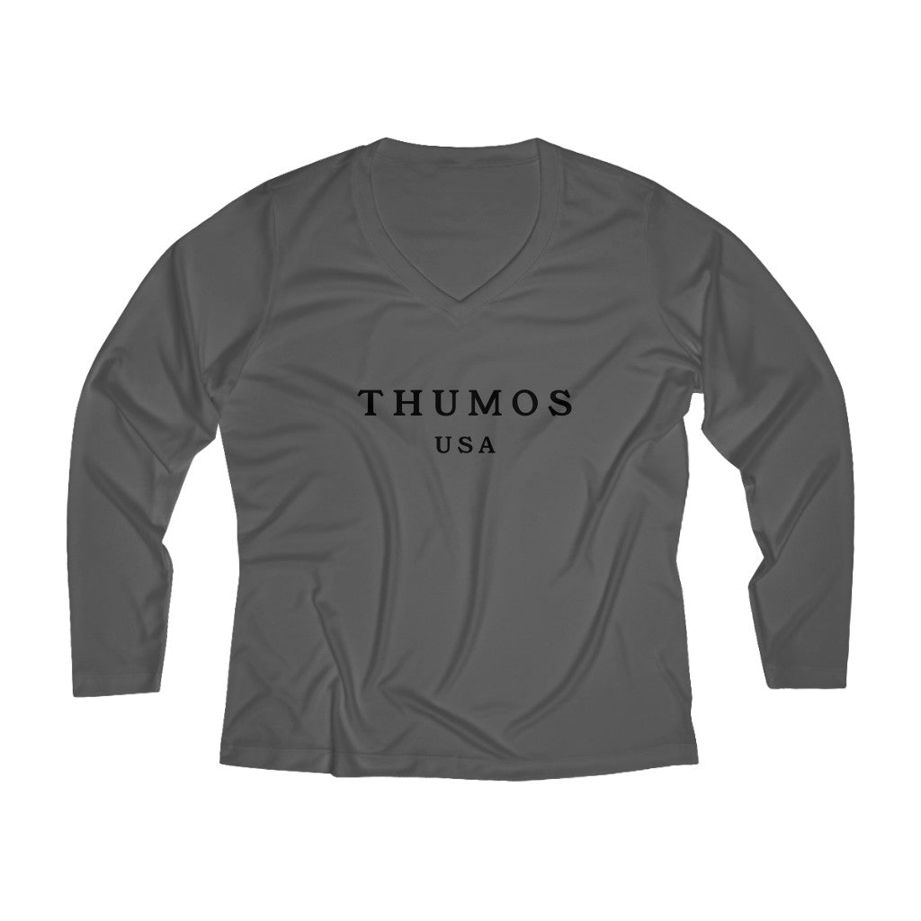 Thumos USA Black Lettering, Women's Long Sleeve Performance Polyester V-neck Tee, Multiple Colors Available, Regular Fit