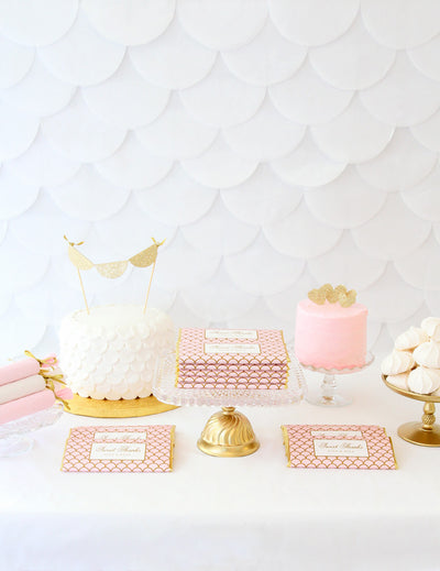 Pink and Gold Scalloped Sweets Table + FREE Printable Template