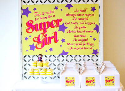 Super Girl Birthday Party Table