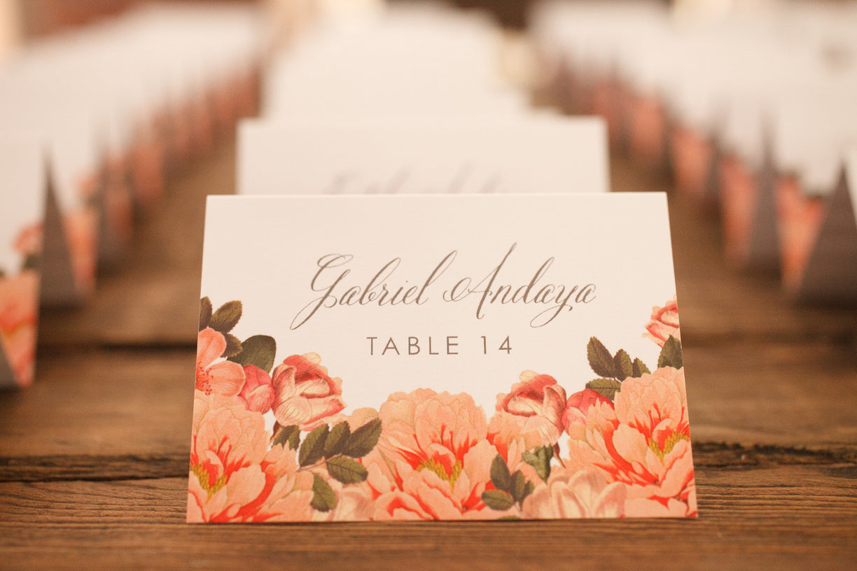 Peach Flowers Escort Card Detail