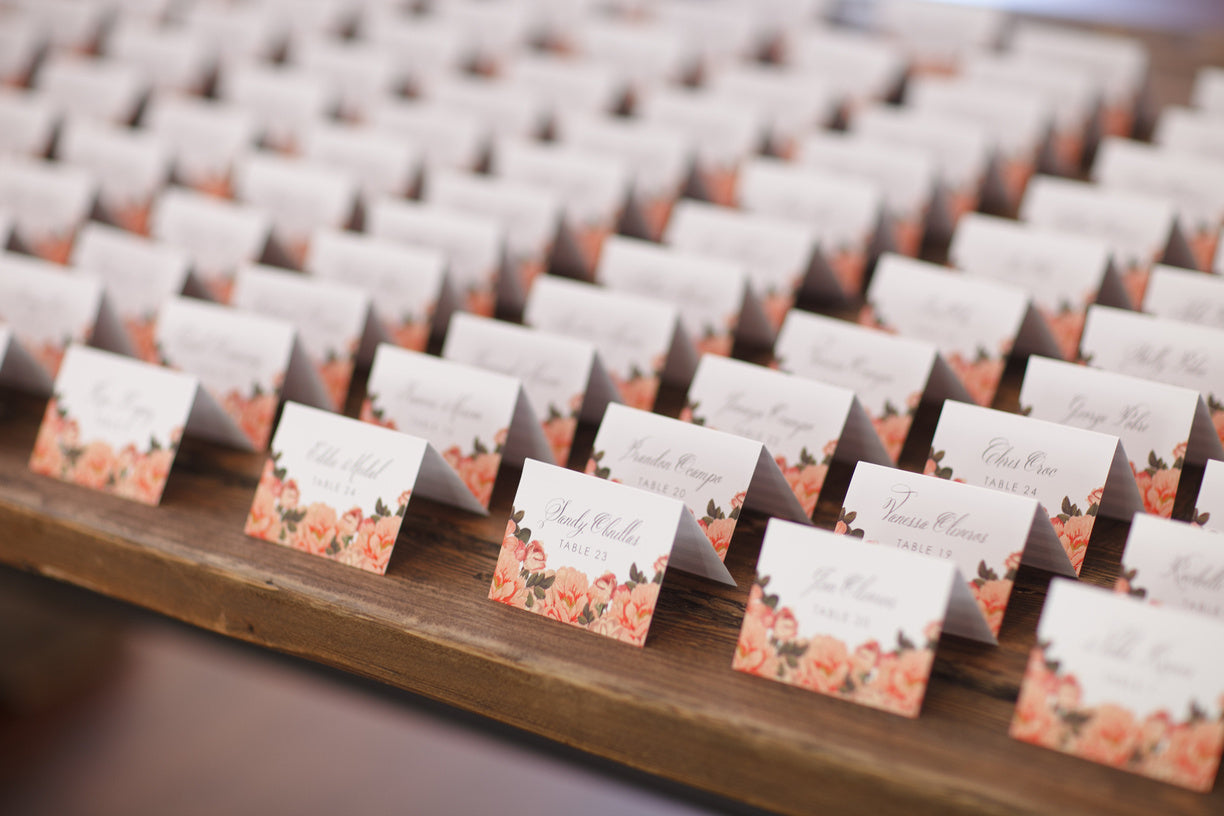 Peach Flower Escort Cards