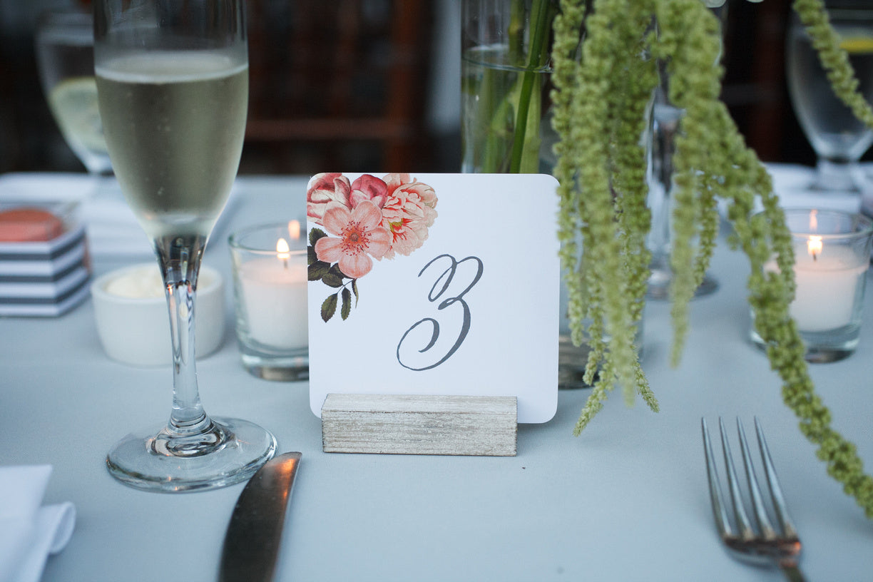Peach Flowers Table Card Number