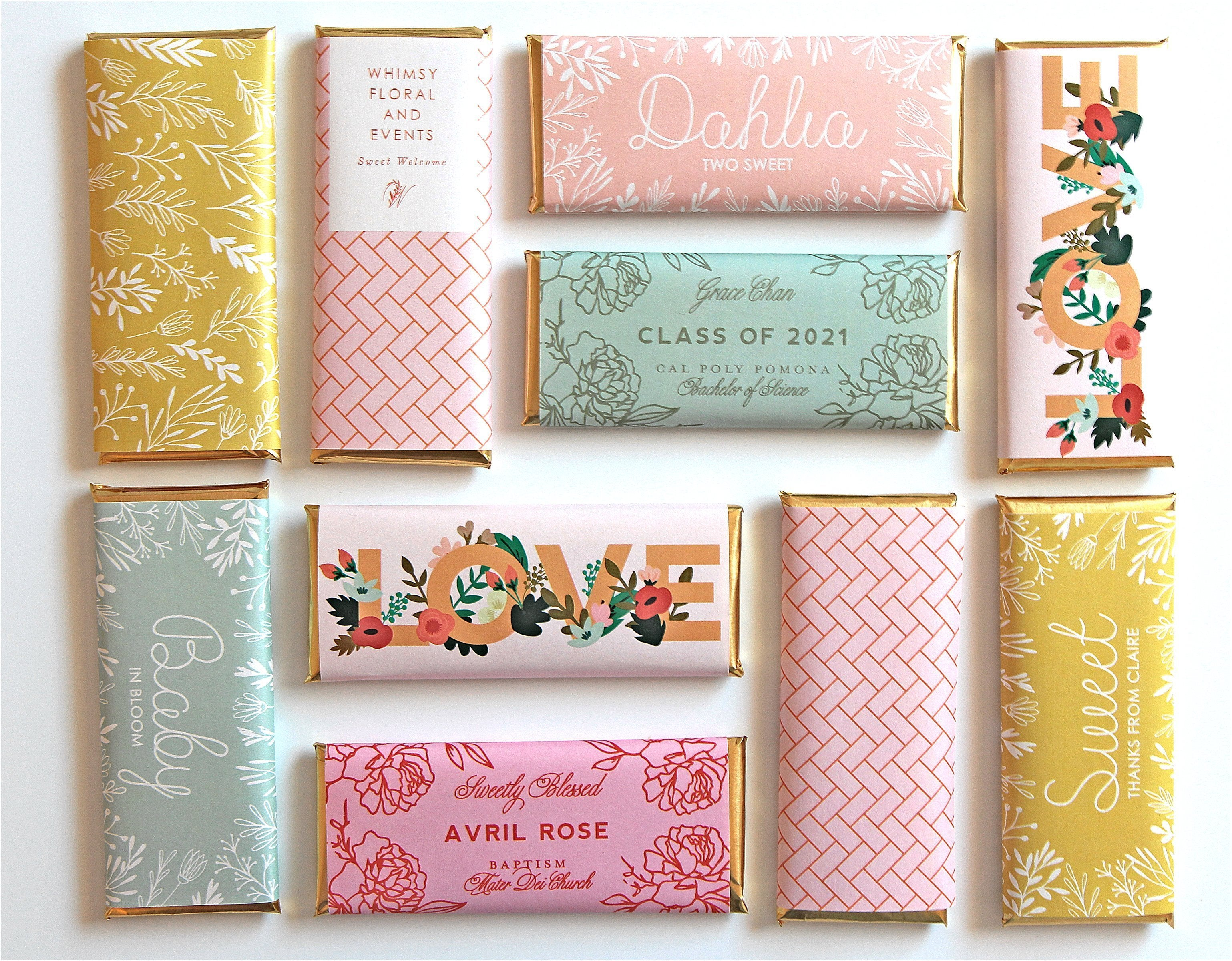 custom design DIY Wedding fit over chocolate bars Rose Gold Wedding Candy Wrappers Printable Candy Wrappers bridal or wedding shower