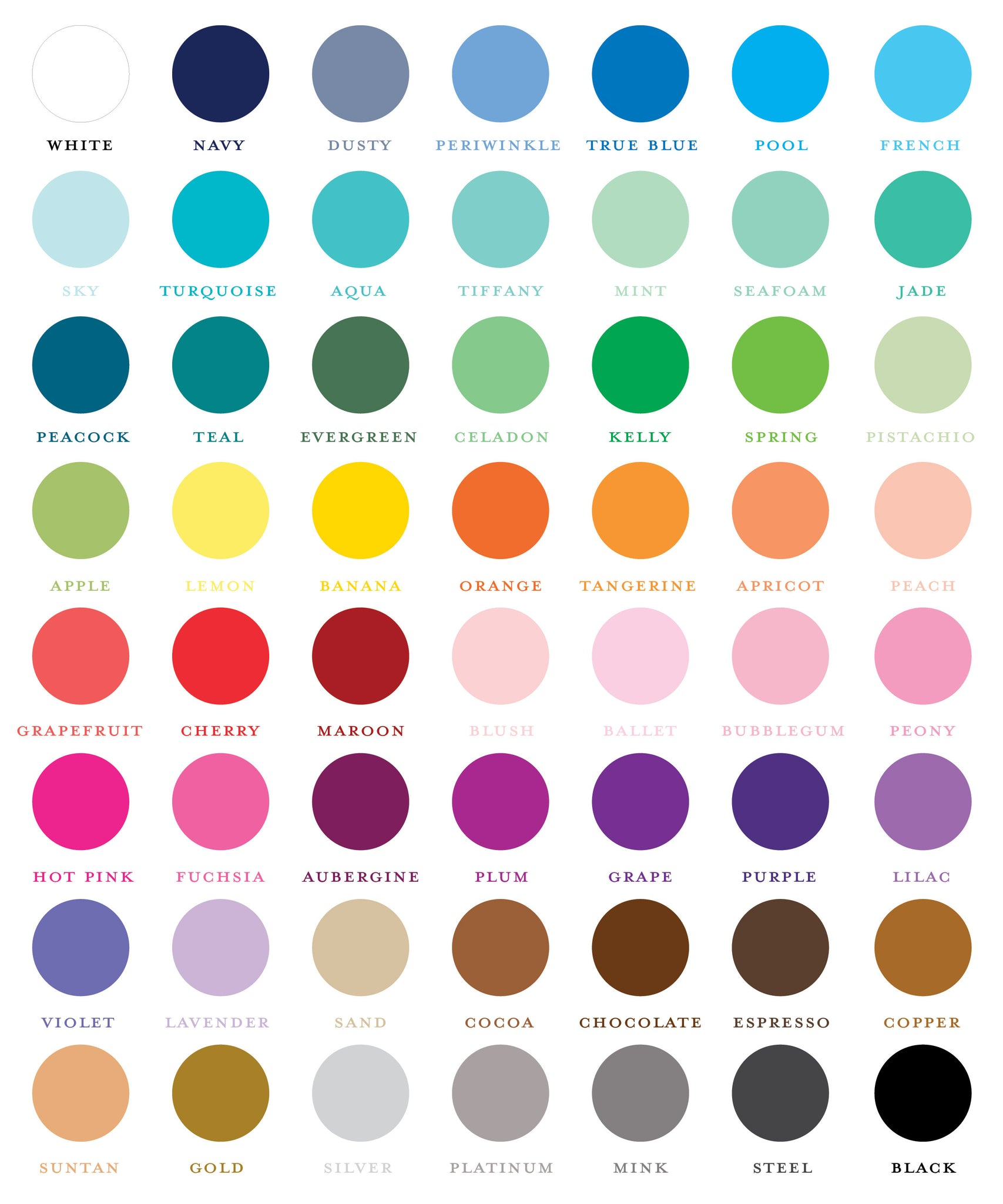 Color chart and candy bar wrapper foil options sweet paper shop sweet paper shop color chart nvjuhfo Images
