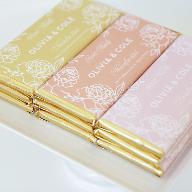 Floral Personalized Candy Bar Wrapper & Gold Foil | Mustard, Terracotta, Dusty Rose | Favor Packaging For Chocolate Bar | Sweet Paper Shop