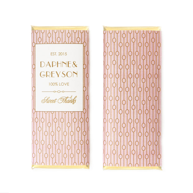 Abstract Chain Art Deco Personalized Candy Bar Wrapper - Sweet Paper Shop - Blush Pink and Gold Foil