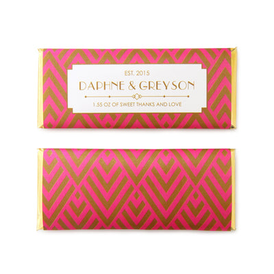 Art Deco Chevron Personalized Candy Bar Wrapper - Sweet Paper Shop - Hot Pink and Gold Foil
