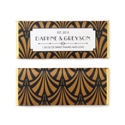Art Deco Fan Personalized Candy Bar Wrapper - Sweet Paper Shop - Black and Gold Foil