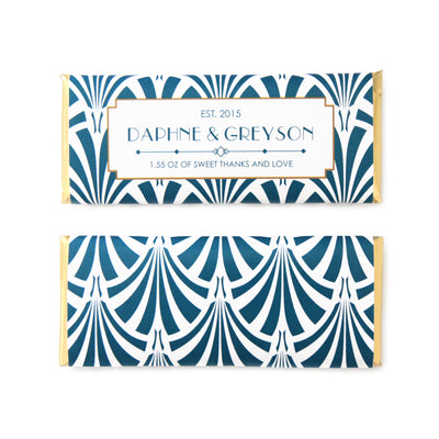 Art Deco Fan Personalized Candy Bar Wrapper - Sweet Paper Shop - Peacock Blue and Gold Foil