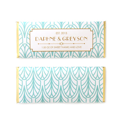 Art Deco Feather Personalized Candy Bar Wrapper - Sweet Paper Shop - Jade Green and Gold Foil