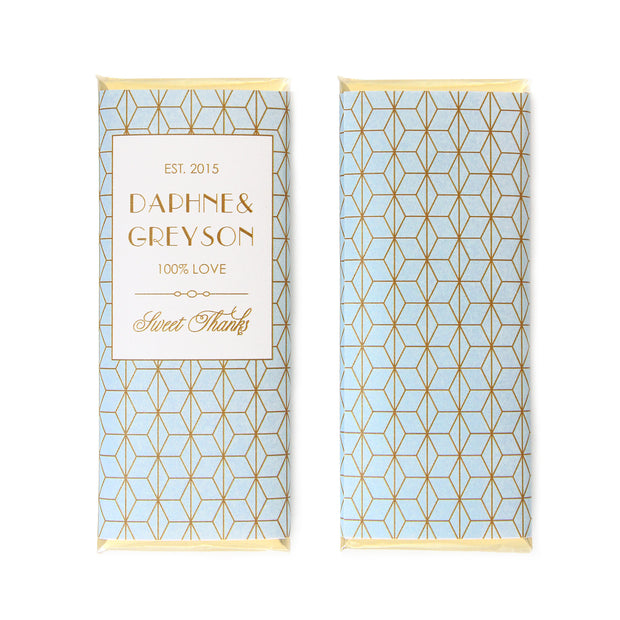 Geometric Art Deco Personalized Candy Bar Wrapper - Sweet Paper Shop - Sky Blue and Gold Foil