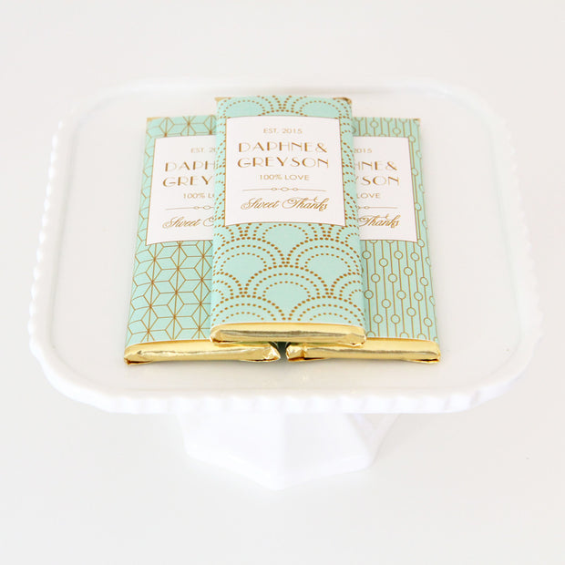 Art Deco Personalized Candy Bar Wrappers - Sweet Paper Shop - Mint and Gold Foil