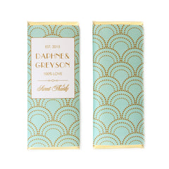 Scallop Art Deco Personalized Candy Bar Wrapper - Sweet Paper Shop - Mint and Gold Foil