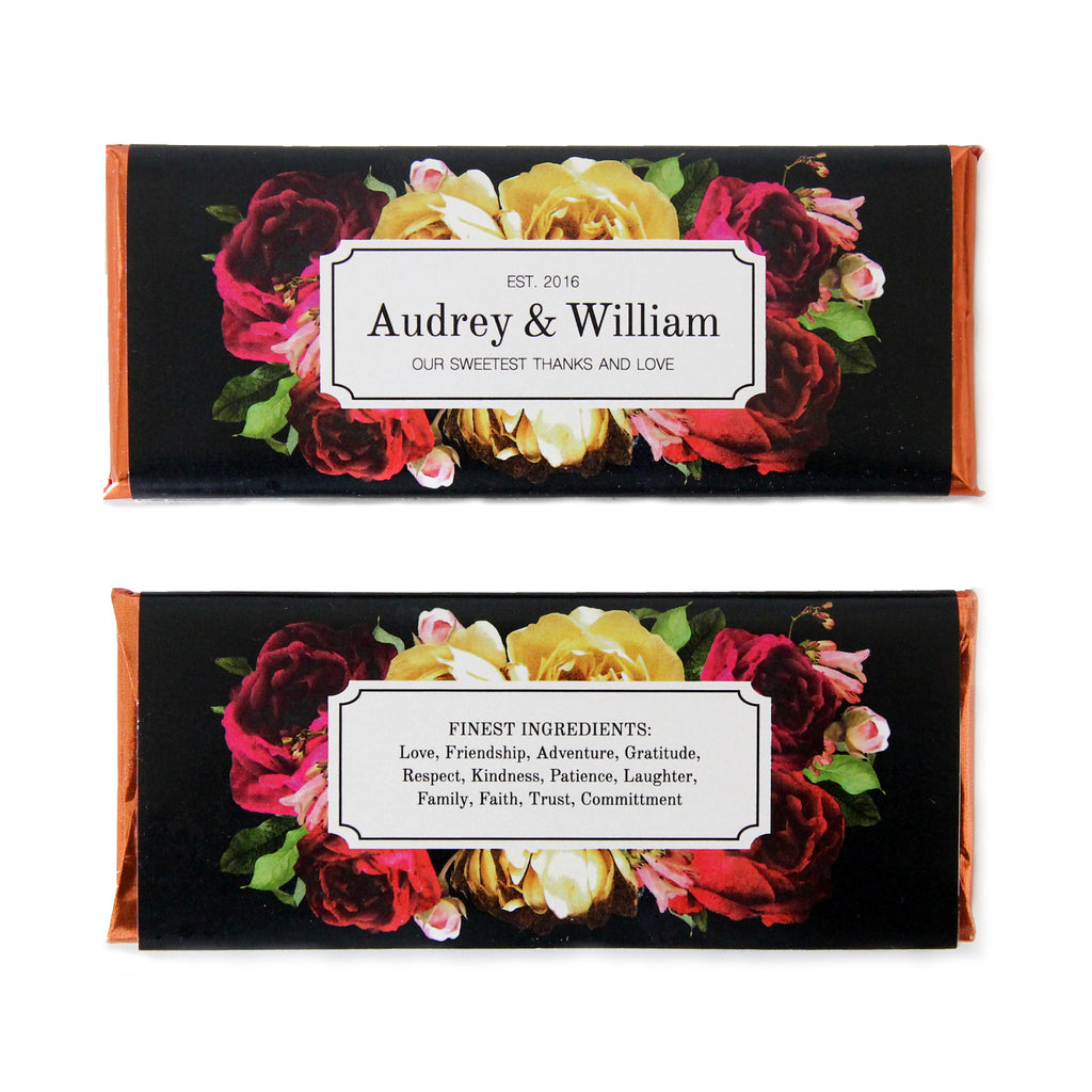Botanical Rose Personalized Candy Bar Wrapper - Sweet Paper Shop