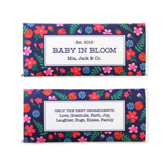 Bright Floral Personalized Candy Bar Wrapper - Sweet Paper Shop - Navy Blue, Pink, Red, Silver Foil