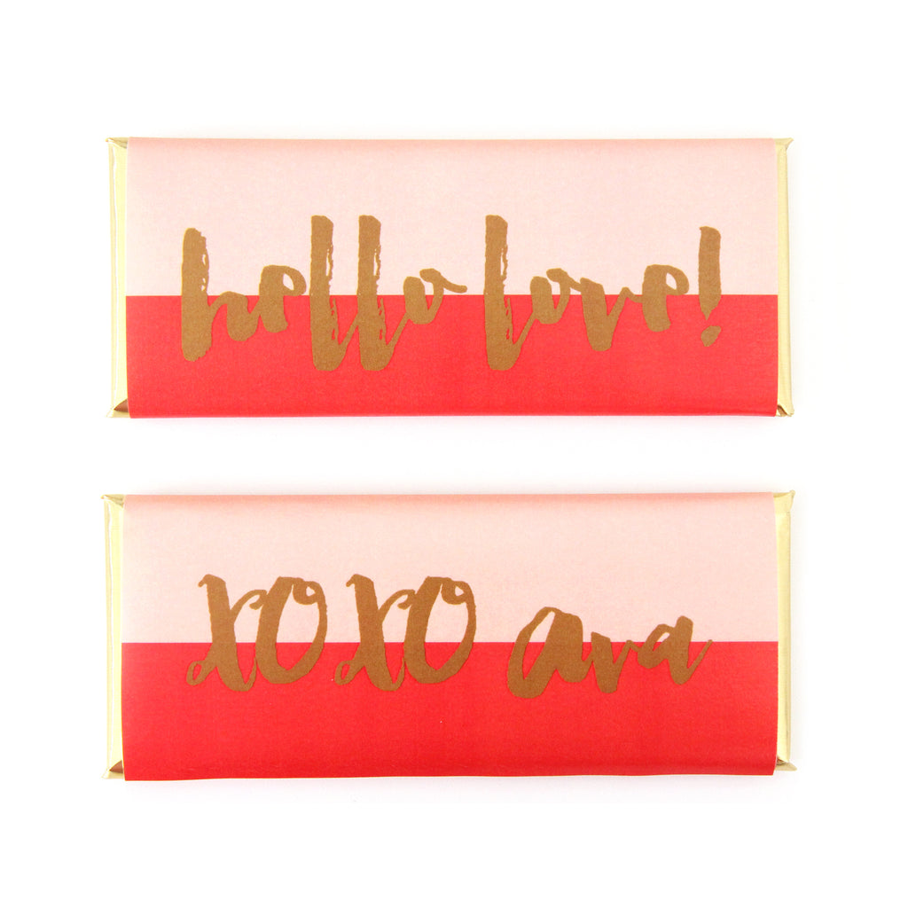 Brush Script Color Block Personalized Candy Bar Wrapper - Sweet Paper Shop - Peach, Cherry Red, Gold Foil