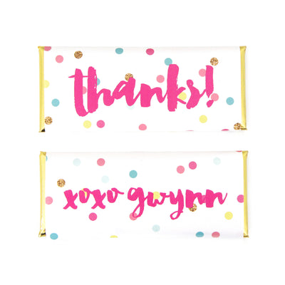 Confetti Dots Personalized Candy Bar Wrapper - Sweet Paper Shop - Fuchsia Pink, Tiffany Blue, Yellow, Gold Glitter, Gold Foil