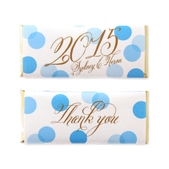 Confetti 2015 Greeting Personalized Candy Bar Wrapper - Sweet Paper Shop - Blue and Gold