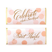 Confetti Celebrate Greeting Personalized Candy Bar Wrapper - Sweet Paper Shop - Peach and Gold