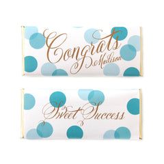 Confetti Congrats Greeting Personalized Candy Bar Wrapper - Sweet Paper Shop - Aqua and Gold