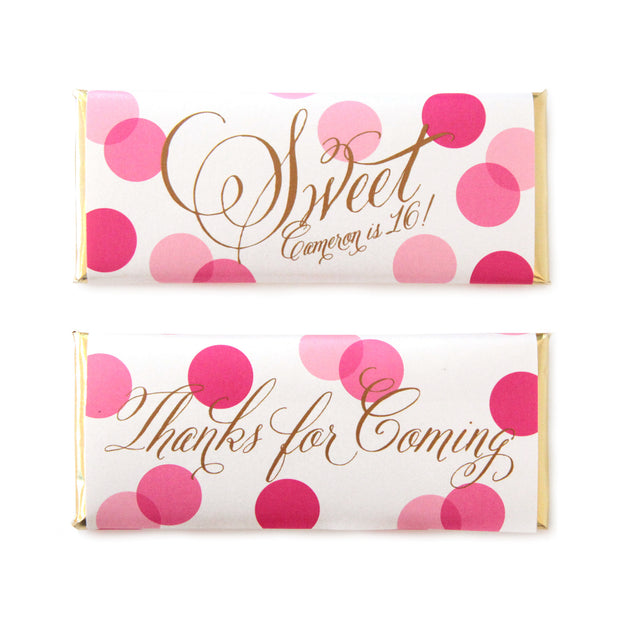 Confetti Sweet Greeting Personalized Candy Bar Wrapper - Sweet Paper Shop - Hot Pink and Gold