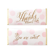 Confetti Thanks Greeting Personalized Candy Bar Wrapper - Sweet Paper Shop - Pink and Gold