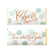 Confetti Cheers Greeting Personalized Candy Bar Wrapper - Sweet Paper Shop - Mint and Gold