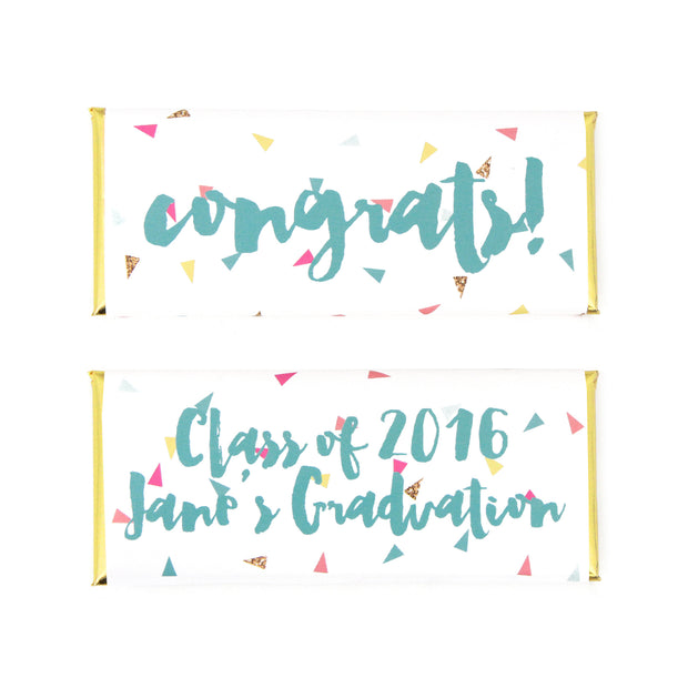 Confetti Triangles Personalized Candy Bar Wrapper - Congrats - Class of 2016 - Sweet Paper Shop - Tiffany Blue, Fuchsia Pink, Yellow and Gold