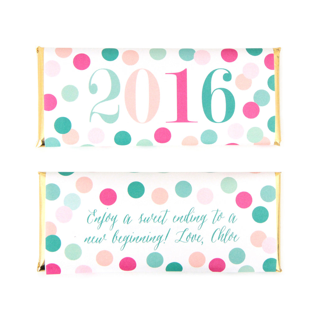 Cue The Confetti Personalized Candy Bar Wrapper - 2016 - Sweet Paper Shop - Mint, Jade Green, Hot Pink, Peach, Ballet Pink, Gold